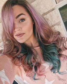 Guys I did a thing  What do we even call this? I was going for a pastel Galaxy but it's kinda more like rainbow unicorn goodness  It's a temporary color that will fade in 5-10 washes. I filmed the process so I can make a tutorial + review the products I used! I'm so happy with the way it turned out.  Metallic Hair Color, Pastel Galaxy, Long Hair Styles, Guys, Instagram Posts, Rainbow Unicorn, Beauty, Happy, Products