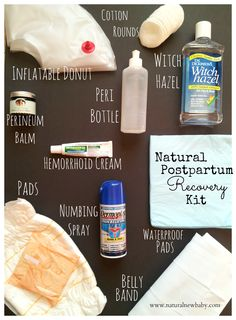 My Natural Postpartum Recovery Kit-- postpartum must-haves for physical healing after giving birth, with everything (even the embarrassing stuff) you'll need for a smooth recovery. Click the photo to get all the details, including a few items that aren't pictured. #naturalnewbaby #postpartum #baby