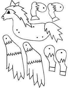 horse puppet coloring