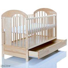 Lit bébé 120x60 massif en pin LASSE naturelle avec un grand tiroir