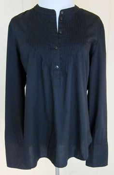 Old Navy Women's Size L Black Long Sleeve Cotton Tunic Top Embroidered Cuffs #OldNavy #Tunic