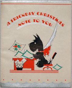 1054 30s Art Deco Scottie Dog Vintage Christmas Greeting Card | eBay