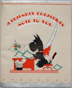 1054 30s Art Deco Scottie Dog Vintage Christmas Greeting Card | eBay