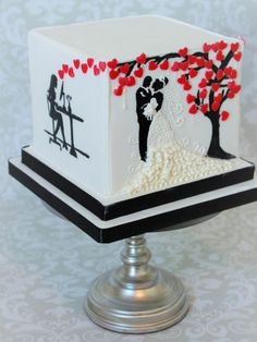Valentine Wedding - Cake by Not Your Ordinary Cakes: White Wedding Cakes, Beautiful Wedding Cakes, Beautiful Cakes, Unique Cakes, Elegant Cakes, Silhouette Cake, Red Cake, Valentines Day Cakes, Square Cakes