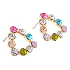 Triangle Earrings Multicolor Crystal 18k Yellow GP Stud Pink Blue Green HOT #Unbranded #Stud