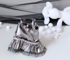 Silver Party Dress for 12 Doll Shiny Silver by RibizliDesign Silver Party Dress, Silver Fabric, Ruffle Dress, Boho Shorts, Doll Clothes, Bunny, Dolls, Sewing, Holiday