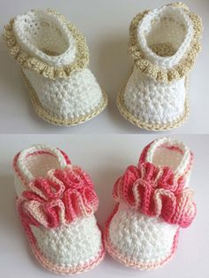 Your little girl will be in style with these cute crocheted booties!   These Baby Wave Ballerina and Ruffled Cuff booties are made holding 2 strands of sport-weight cotton yarn together. Sizes: 0-3 mos (3-6 mos, 6-9 mos, 9-12 mos). Easy-to-follow photo illustrations are included in this pattern.
