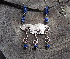 Copper Brass Raw Stone Lapis Lazuli Rain Cloud Necklace Rustic