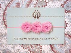 Shabby pink flower baby headband  newborn by fabflowerheadbands, $11.50