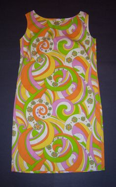 Vintage Neon Green Orange Yellow Lavender Mod Paisley Print Shift Dress