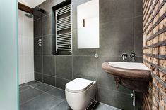 Dark Tiles, Shower, Bathroom, Converted Stables in Winchester, England