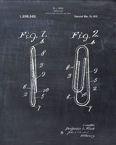 Patent Print of a Paper Clip  Patent Art  Patent by VisualDesign