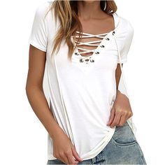 Women Summer  Lace Up Causal Short Sleeve T Shirt Women Hollow out Strappy Front T-shirt Ladies Tee Tops New Color -  http://mixre.com/women-summer-lace-up-causal-short-sleeve-t-shirt-women-hollow-out-strappy-front-t-shirt-ladies-tee-tops-new-color/  #T-Shirts
