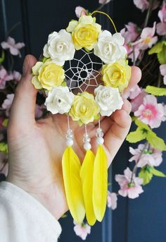 Yellow Flower Car Dreamcatcher: Yellow Car Accessories for