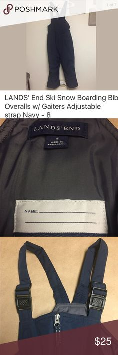 """LANDS' End Ski Snow Boarding Bib Overalls Like new condition- Lands' End Snow Bib size: 8. Navy Blue.  Waterproof & windproof shell Adjustable shoulder straps w/ clip-in buckles. With built in snow gaiters (hook type) to keep snow & slush out of your boots. If you are not sure how to use the gaiters you can search the internet I found a lot useful of info. Also perfect for snowboarding. Built in Iron Knee & Seat: """"What's that? A double-layer of extra-tough nylon patched on the knees and seat…"""