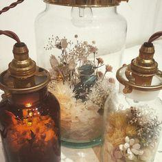 梅雨時はお部屋で過ごすことも多くなると思うのでこんなライトで癒されてください❤︎ #msoeur #フラワーライト#フラワーボトルライト#プリザーブドフラワー#ライト#インテリア#ドライフラワー Flower Images, Flower Art, Were All Mad Here, How To Preserve Flowers, Bird Cages, Green Flowers, Diy Projects To Try, Tea Set, Vintage Furniture