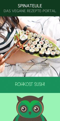 Rohkost Sushi - Eines von vielen Rezepten vom veganen Rezepte-Portal Spinateule. Klicke, um das Rezept zu sehen und die vegane Welt der Spinateule zu entdecken <3