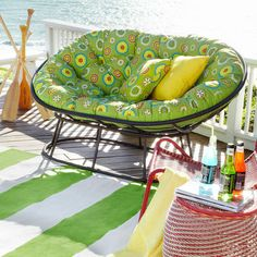 Double Papasan Cushion - Citrus Daisy - around $120-140 for the outdoor cushion and $200+ for the base and frame; 4 feet wide