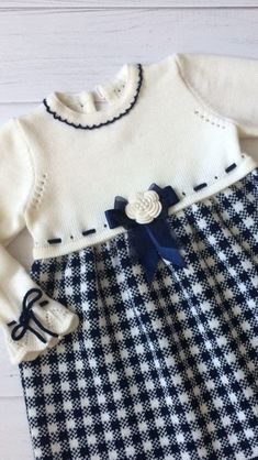 Buy Knitted dress for girls – for children … - Babykleidung Knitting For Kids, Baby Knitting Patterns, Crochet Fabric, Crochet Baby, Baby Sewing, Baby Outfits, Baby Dress, Knit Dress, Kids Fashion