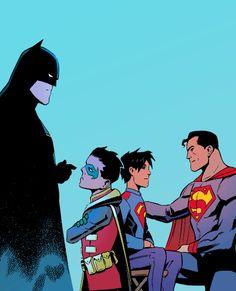 Super Sons. Batman, Robin, Superman, Super Boy.