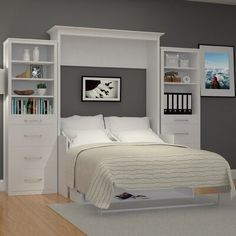 Buy Elegant Queen Murphy Bed With Desk For Sale Online Furniture Store Best Selection Contemporary Murphy Beds Sizes Double, Queen White Color Murphy Beds Queen Murphy Bed, Murphy Bed Desk, Murphy Bed Plans, Room Design Bedroom, Home Bedroom, Bedroom Decor, Bedroom Ideas, Bedrooms, Contemporary Murphy Beds