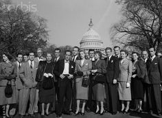 The Committee for the First Amendment, a group of Hollywood Stars, stand outside the US Capitol building in Washington, DC to protest the House un-American Activities Committee's  censorship of the film industry.  Their involvement proved ineffective and only drew suspicion onto them.  The group quickly disbanded.  Among those in attendance are stars Humphrey Bogart, Lauren Bacall, John Huston, and Danny Kaye.  October 27, 1947.  © Bettmann/CORBIS