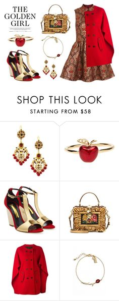 """""""The Golden Girl"""" by junglover ❤ liked on Polyvore featuring Topshop, Jose & Maria Barrera, Alison Lou, Rupert Sanderson, Dolce&Gabbana, Neil Barrett and Kate Spade"""