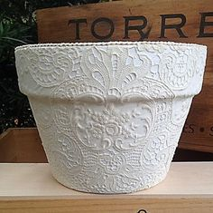 Celtic Embroidery and Lace Flower Cache Pot Planter...  Makes a great gift basket for baby or bride!