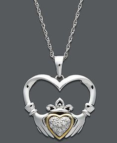 Gold and Sterling Silver Necklace, Diamond Accent Claddagh Pendant Mens Silver Necklace, Engraved Necklace, Sterling Silver Necklaces, Jewelry Art, Vintage Jewelry, Jewelry Ideas, Celtic Knot Jewelry, Dolphin Jewelry, Celtic Wedding Rings