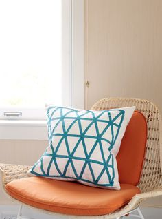 graphic pillow inspiration. could I make this with some ribbon? House of Turquoise: Allison Caccoma