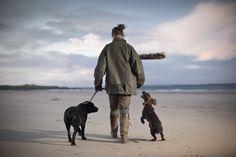 Walkies on Goswick beach, Northumberland.