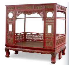 """Chinese bed. In China, the """"state"""" bed evolved from a simple elevated platform to an elaborate piece of furniture with enclosed sides and a simple cotton mattress."""