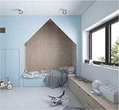 Plywood + blue = winning combination http://petitandsmall.com/stunning-plywood-rooms-kids/ - schöne helle Farben in dem Kinderzimmer