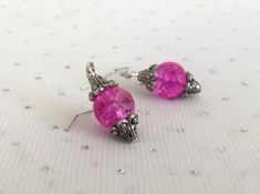 Pink Earrings Unique Jewelry Pink Glass Dangle Earrings by CherishedJewelryCo