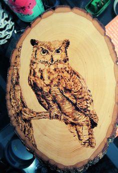 Great Horned Owl Wood Burning by c10udburst.deviantart.com