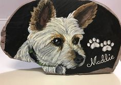 """Small Hand Painted Pet Portrait -5"""" x 6"""" (approximately) River Rock -Painted from your Personal Photos -Acrylic Paint -Sealed with Outdoor Grade Polyurethane Varnish -2-12 Week Completion Time - Dependant on Workload -This piece is a SAMPLE For yourself or a gift for others, a lifelike"""
