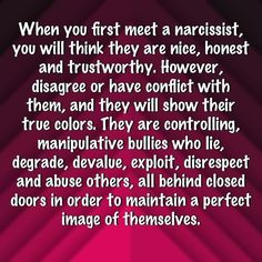 When you first meet a narcissist, you will think they are nice, honest and trustworthy. Narcissistic People, Narcissistic Mother, Narcissistic Behavior, Narcissistic Abuse Recovery, Narcissistic Sociopath, Narcissistic Personality Disorder Relationships, Trauma, Ptsd, Narcissist Quotes