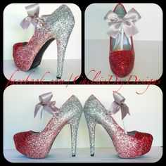 These+Glitter+High+Heels+are+MADE+TO+ORDER 5+inch+heel+shown If+you+would+like+a+different+color+combination+or+would+like+to+leave+off+the+bow+please+put+your+request+in+the+order+comments. My+turnaround+time+is+located+in+the+announcement+section+at+the+top+of+my+shop.+If+you+need+them...