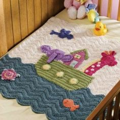 **PATTERN ONLY - Not the Finished Product - PATTERN ONLY**  X988 Crochet PATTERN ONLY Noahs Ark Baby Blanket Lots of Detail   Offered is a Crochet Noahs Ark Baby Blanket Pattern....Finished size is 29