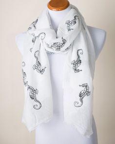 White and Black Seahorse Print Scarf