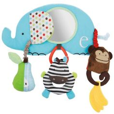Skip Hop Stroller Bar Activity Toy, Alphabet Zoo by Skip Hop. $20.00. Fore age 0 plus. 8 developmental activities. Removable zebra toy. Merrily we roll along. Take this animal themed activity center along for the ride, perfect for stroller bars and infant carrier handles. Includes a banana teether, rattle pear, and detachable zebra for your little one to hold, while a baby safe mirror encourages peek a boo play and self recognition.