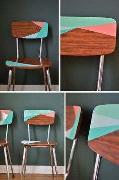 Painted pastel geometric mid century modern retro wooden chair #WoodenChair