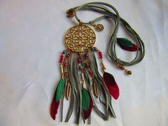 Halskette Lederband Anhänger Amulett Federn von Bezauberndes