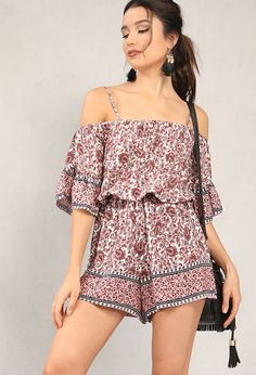 0fec30d61365 Bell-sleeved paisley print open-shoulder romper