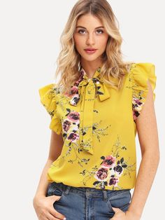 Casual Floral Top Regular Fit Stand Collar Cap Sleeve Butterfly Sleeve Pullovers Yellow Regular Length Flounce Shoulder Tied Neck Floral Blouse Source by daydaychic Blouses Bow Tie Blouse, Ruffle Blouse, Ruffle Sleeve, Work Blouse, Floral Blouse, Floral Tops, Blouse Fleurie, Yellow Fashion, Teenager Outfits