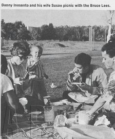 Rare photo of Bruce and Linda Lee at a picnic with friend Dan Inosanto & his wife Susan.