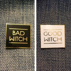 Good Witch Bad Witch Hard Enamel Pin by LastCraft on Etsy Pin And Patches, Iron On Patches, Wicca, The Worst Witch, Cool Pins, Hard Enamel Pin, Gold Letters, Pin Badges, Lapel Pins