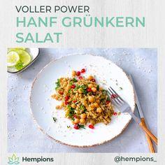 Power-Kombi: Hanf-Grünkern Salat im leckeren Rezept von Küchenfee Laura steckt eine geballte Ladung an wertvollen Nährstoffen wie Omega-3, Protein, Vitamine und Mineralstoffe. Schnell & einfach zubereitet ist so powervoller Genuss garantiert. Omega 3, Grains, Protein, Rice, Kitchen, Food, Buckwheat, Hemp, Cooking