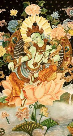 Mandala and Thangka Painting: Art and Wisdom - tibetanthangkapaintings: Beautiful Green Tara. Kerala Mural Painting, Buddha Painting, Buddha Art, Painting Art, Green Tara Mantra, Tibet Art, Goddess Art, Tara Goddess, Thangka Painting