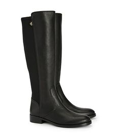 Tory Burch Selden Riding Boot-tumbled Leather/stretch Scuba